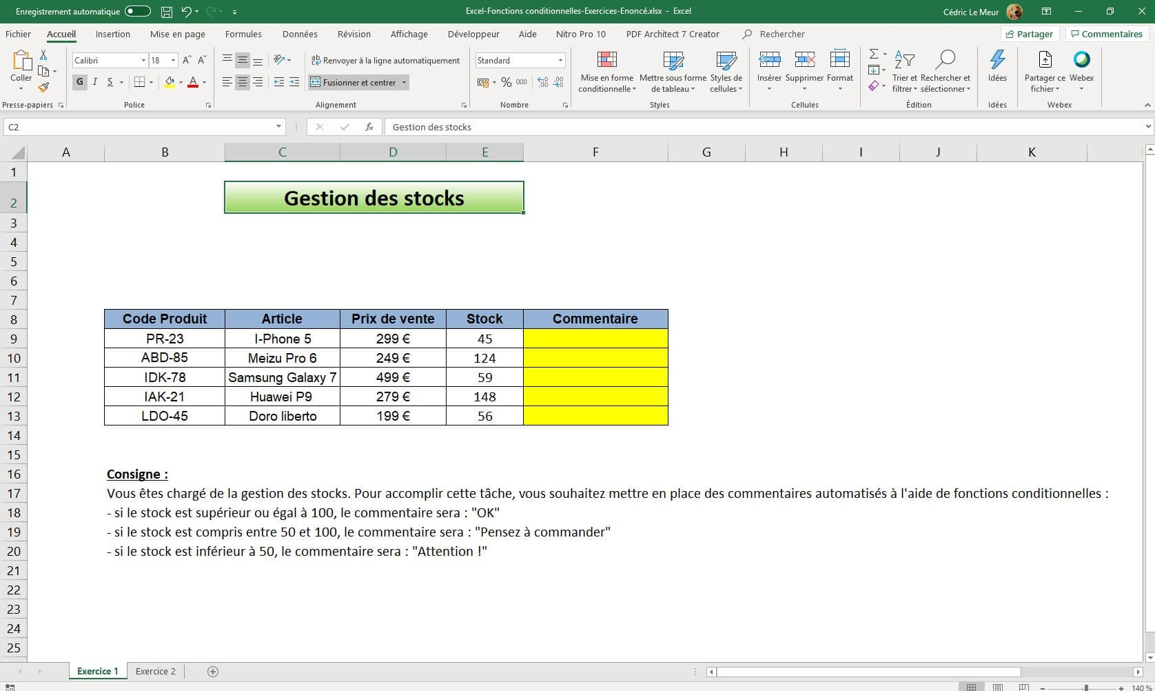Formation Excel - Les fonctions conditionnelles